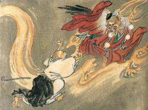 A tengu and a Buddhist monk, by w:Kyosai.